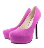 空白被停顿的高桃红色的鞋子 免版税库存图片