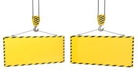 空白起重机钩牌照二黄色 库存例证