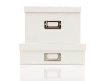 空白配件箱文件盒盖堆积了白色 库存照片
