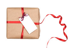 空白配件箱礼品标签红色丝带 库存照片