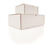 空白配件箱纸板查出的栈白色 免版税库存照片