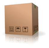 空白配件箱褐色纸板查出的存贮 库存图片