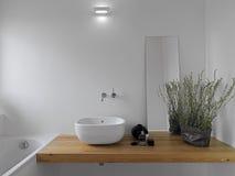 空白陶瓷水盆在卫生间里 图库摄影