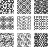空白黑色几何的模式被设置 库存照片