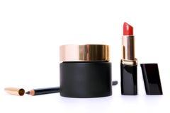 空白黑色收集的化妆用品 库存照片