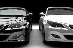 空白黑色的大型高级轿车 图库摄影