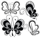 空白黑色的蝴蝶 免版税库存照片