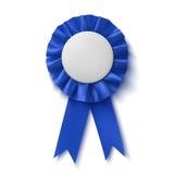 空白,现实蓝色织品奖丝带 图库摄影