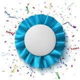 空白,现实蓝色织品奖丝带 免版税库存照片