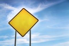 空白,黄色路警报信号 免版税库存照片