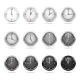空白2块黑色时钟被设置的手表 皇族释放例证