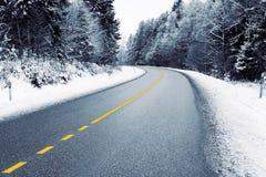 空的乡下公路在冬天 免版税库存照片