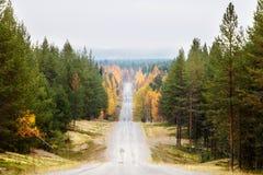 空的乡下公路在森林里在秋天在拉普兰 免版税库存图片