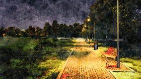 空的公园胡同秋天夜水彩风景 皇族释放例证