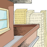 空的公寓阳台 免版税库存照片