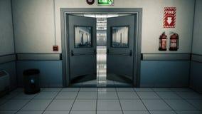空的医院不尽的走廊 诊所的空的走廊 有门的一个长的不尽的走廊 走廊  股票视频