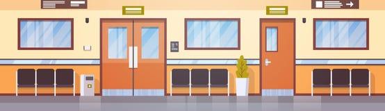 空的医院走廊诊所走廊内部 库存图片