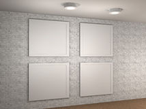 空的博物馆墙壁的例证与4个框架的 库存照片