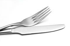 空的叉子和刀子 免版税库存照片