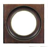 空的古色古香的木圆的画框插入物您的图象或文本 图库摄影