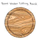 空的圆的木切板 厨房工具和设备 手拉的向量例证 Savoyar乱画样式 库存照片