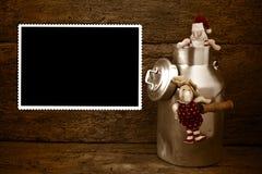 空的圣诞节葡萄酒照片框架卡片 免版税库存图片