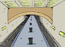 空的地铁平台剪影 向量例证