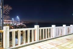 空的夏天镇在冬天晚上-土耳其 免版税图库摄影