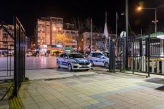 空的夏天镇在冬天晚上-土耳其 免版税库存图片