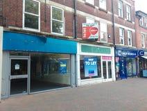 空的大街在英国购物 免版税库存照片