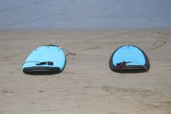 空的夫妇水橇板 免版税库存照片