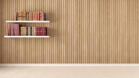 空的室、架子与旧书,人字形木条地板和木头 免版税库存照片
