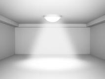 空的室与装饰斑点光 背景内部空间沙发葡萄酒白色 免版税库存图片