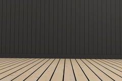 空的室顶楼在3D的木和黑室回报图象 免版税库存照片