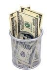 空的容器和钞票美元 免版税库存图片