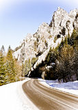 空的山路冬天 免版税库存照片