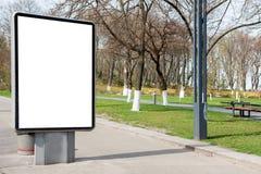 空的广告牌或lightbox在城市街道上 图库摄影