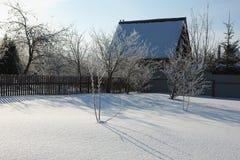 空的庭院冬天 免版税库存照片