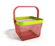 空的手提篮在白色背景3D不适隔绝Render 免版税库存照片