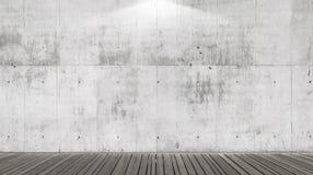 空的抽象内部有与聚光灯的混凝土墙背景 库存照片