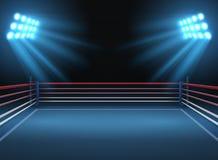 空的搏斗的体育比赛场所 拳击台剧烈的体育传染媒介背景 库存例证
