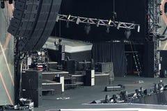 空的摇滚乐音乐会阶段 免版税库存照片