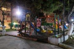 空的操场在冬天晚上-土耳其 免版税库存照片