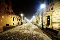 空的晚上街道在布加勒斯特 库存图片