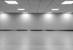 空的有行天花板LED光灯和光树荫的空间经典单调黑白色办公室室透视图在墙壁上 免版税库存图片