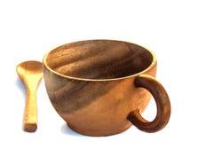 空的木咖啡杯和匙子 库存照片