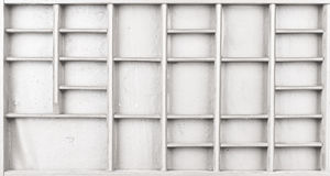 空的木白色绘了种子或信件或者collectibles箱子 库存照片