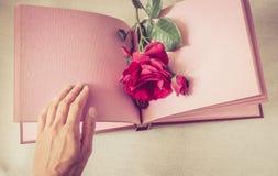 空的板料书和红色玫瑰 免版税库存照片
