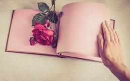 空的板料书和红色玫瑰 免版税库存图片