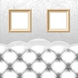 空的框架,葡萄酒长沙发 免版税图库摄影